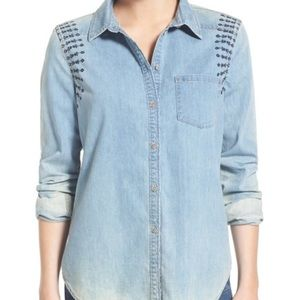 Paige Embroidered Chambray Shirt Size S
